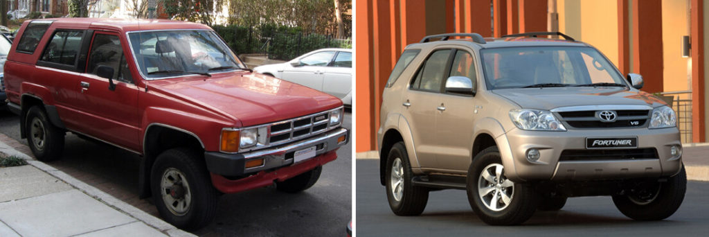 The original 1984 Toyota Hilux Surf and first generation Toyota Fortuner