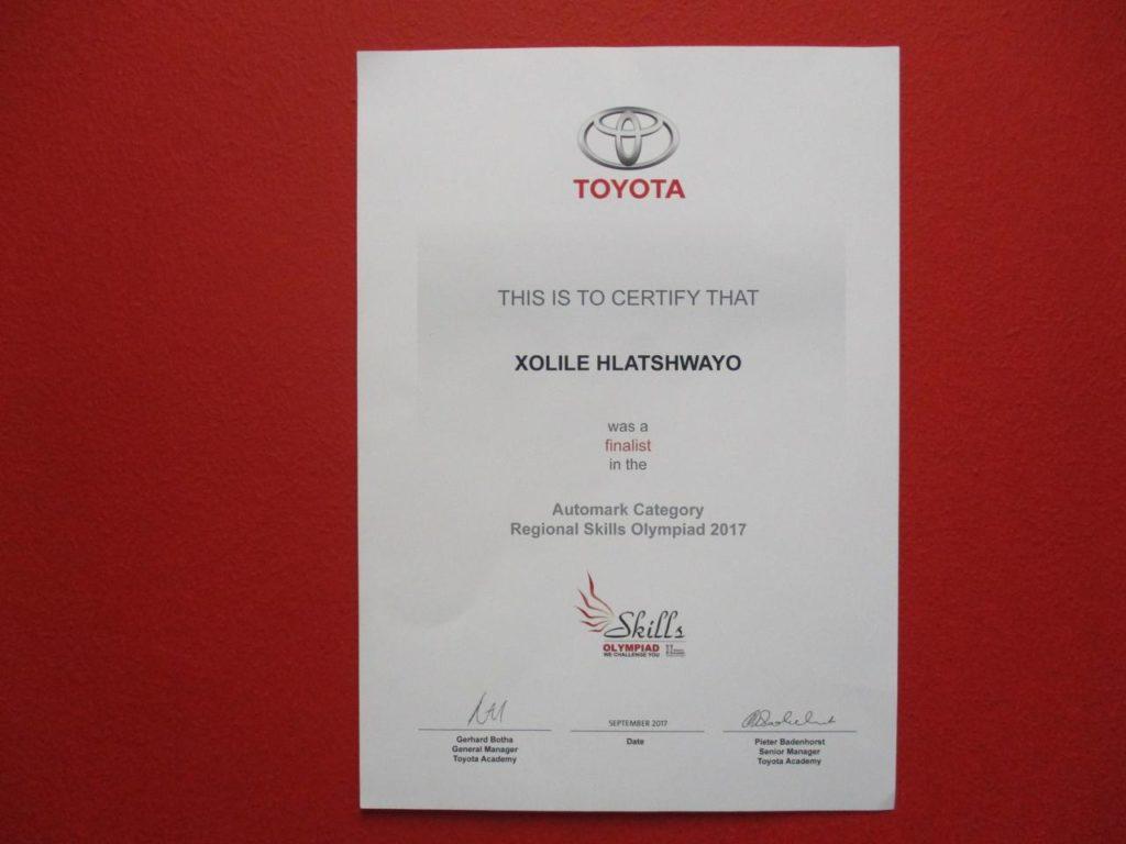 Toyota Skills Olympiad Awards