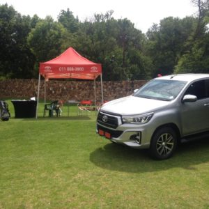 CMH Toyota Alberton at Bell Equipment Golf Day, Water hole with silver toyota hilux