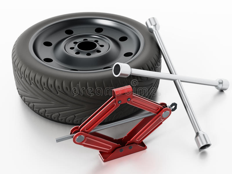 Check for tools to change your tyre